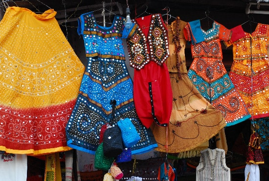 clothes in marketplace / bazaar of Pushkar, Rajasthan, India