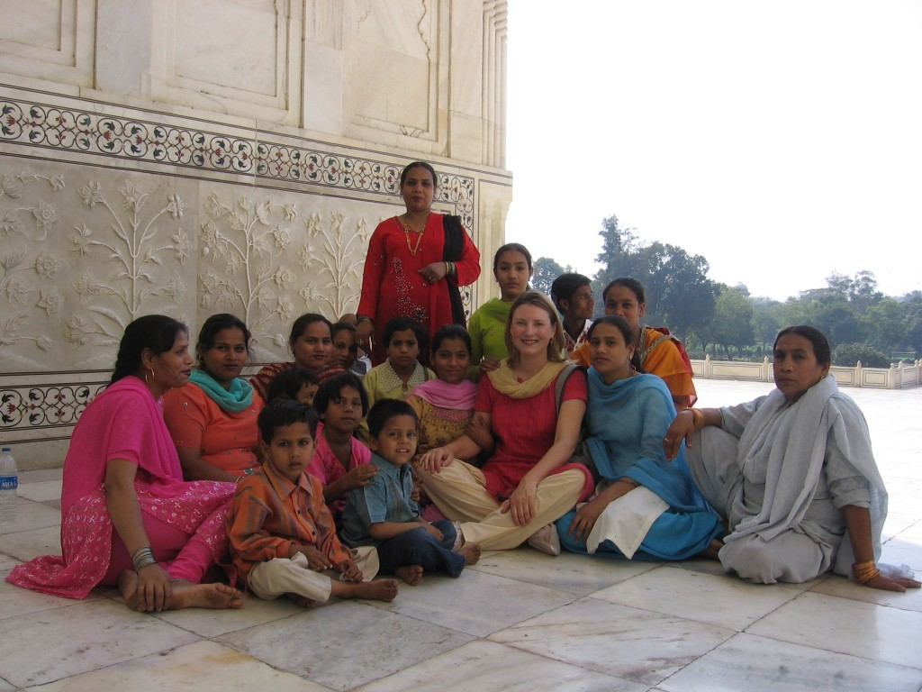Moi, with friends, at the Taj Mahal