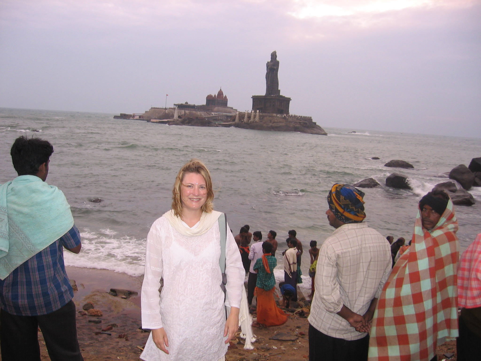 Moi, in salwar kameez, at Kanyakumari - the very southern tip of India