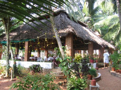 open-air dining room at Shinshiva Ayruvedic Resort, Kerala