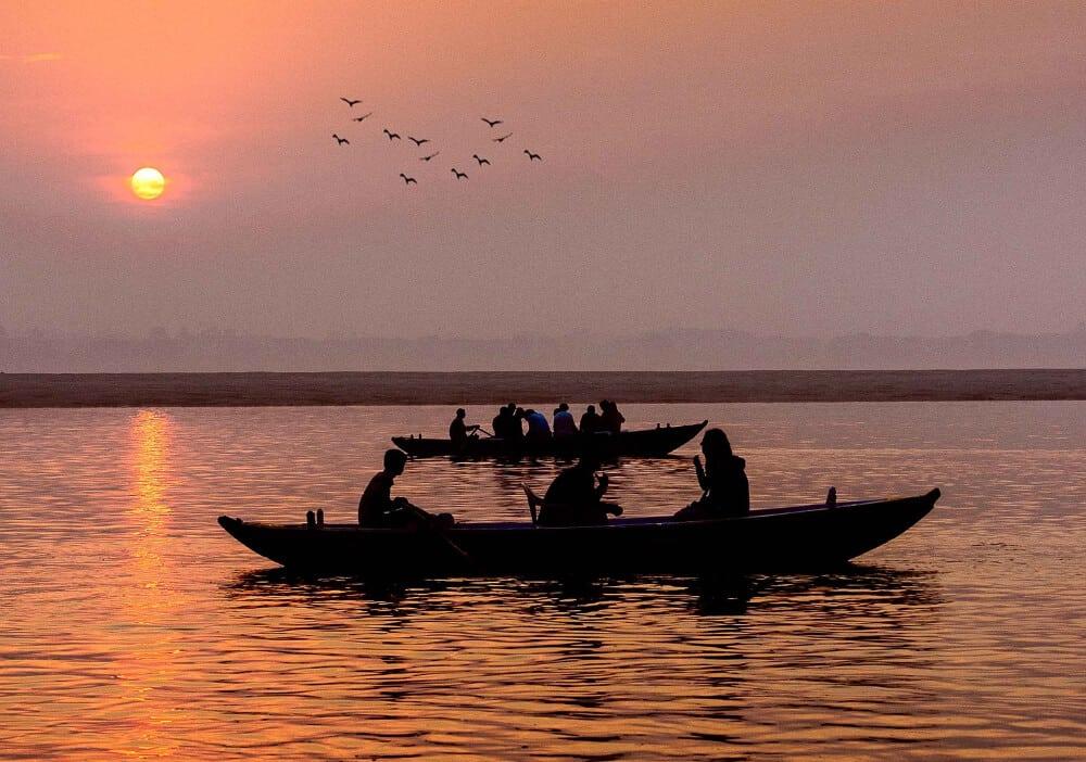 Boats in Varanasi at sunrise