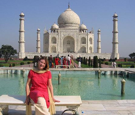 Mariellen at the Taj Mahal, India