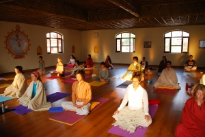Yoga hall, at sunrise, at Anand Prakash Yoga Ashram
