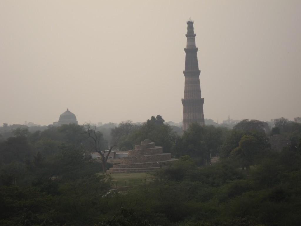 Qutb Minar on a foggy day