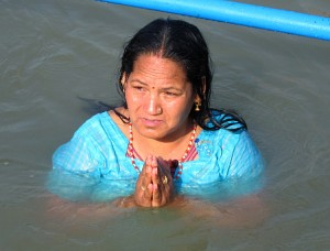 Woman bathing on April 14