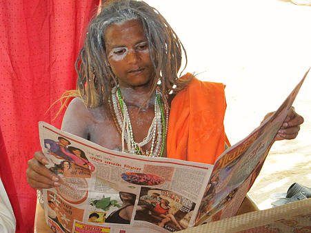Naga Sadhu (naked holy man) at Kumbh Mela, Haridwar, India