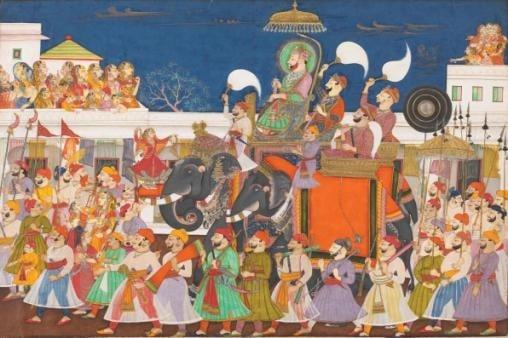 Procession of Raja Ram Singh II of Kota and his son at Kota, c.1850 ©V&A Images/Victoria and Albert Museum, London