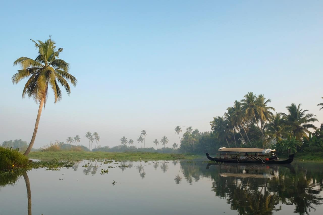 Kerala backwaters with boat