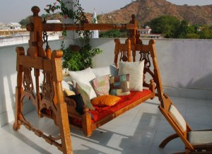 Rooftop swing chair, Inn Seventh Heaven, Pushkar, Rajasthan, India