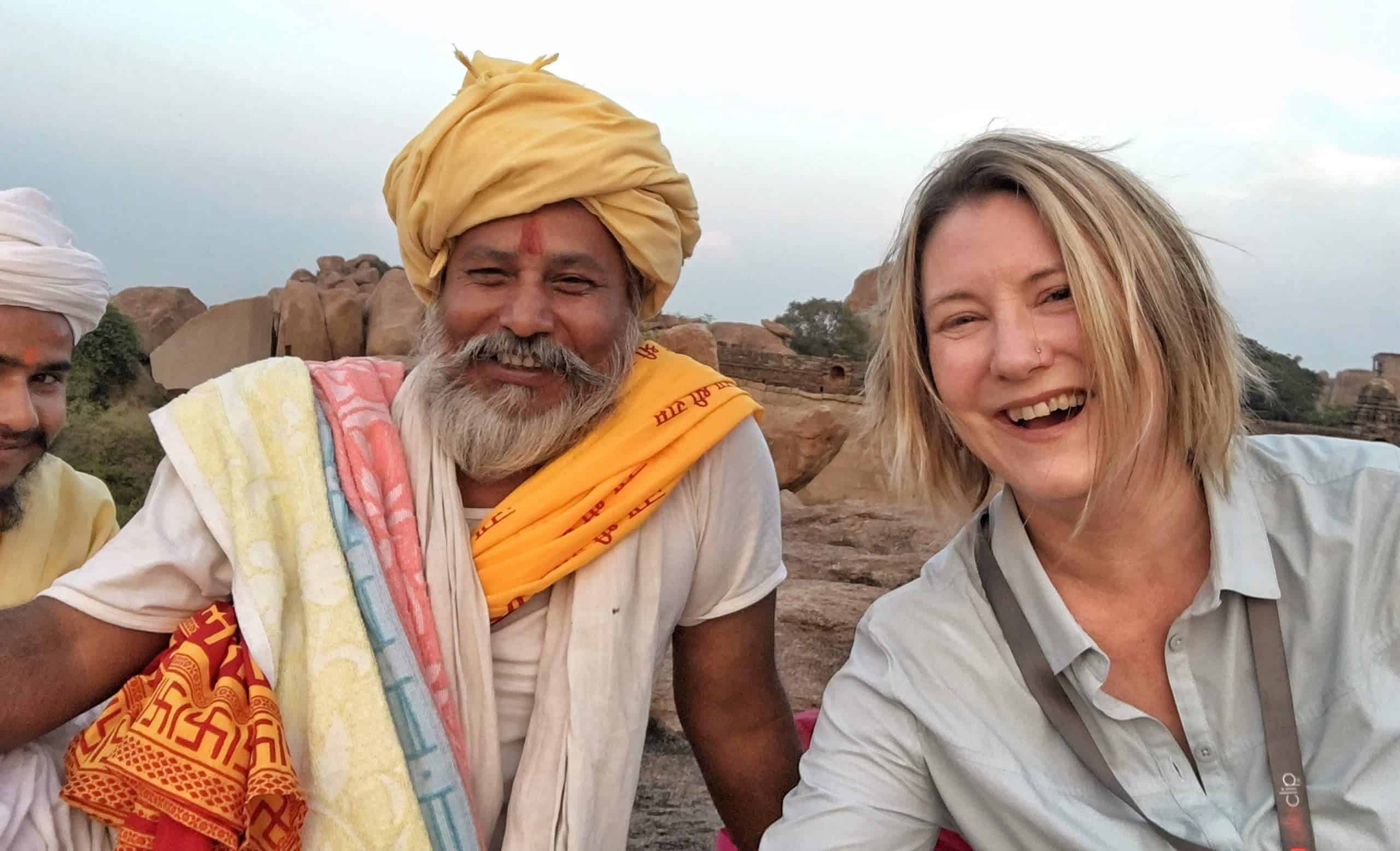 Mariellen with Sadhu in Hampi, India