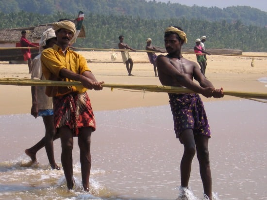 photograph of fishermen in Kovalam, Kerala, India