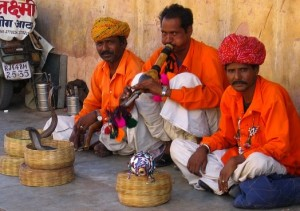 photograph of snake charmers in Jaipur, India