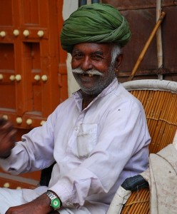 photograph of turban wearer in Pushkar, Rajasthan, India