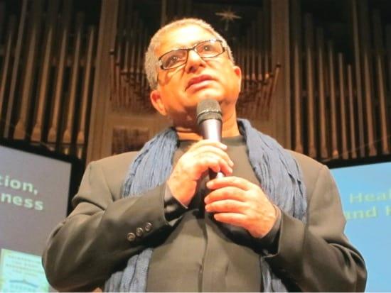 Deepak Chopra at Roy Thomson Hall in Toronto, talking about spirituality, yoga