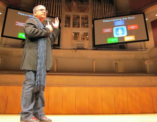 Deepak Chopra at Roy Thomson Hall in Toronto, talking about happiness and the importance of spirituality