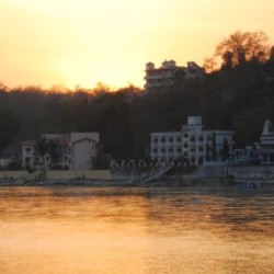 photograph of Rishikesh, India at sunset