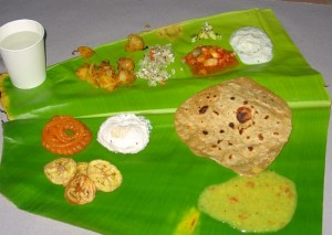 photograph of Indian food on a banana leaf in Tamil Nade, south India