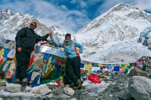 Photograph of Dave Bouskill and Debra Corbeil of ThePlanetD at Mount Everest base camp in Nepal