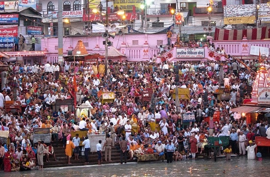 Photo of Har-ki-Pauri, Haridwar, India during aarti, Kumbh Mela 2010