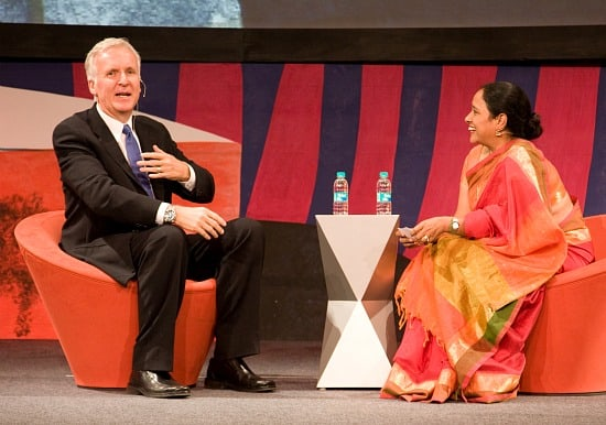 Photo of James Cameron and Lakshmi Pratury courtesy of Gene Driskell for The INK Conference, Mumbai, India