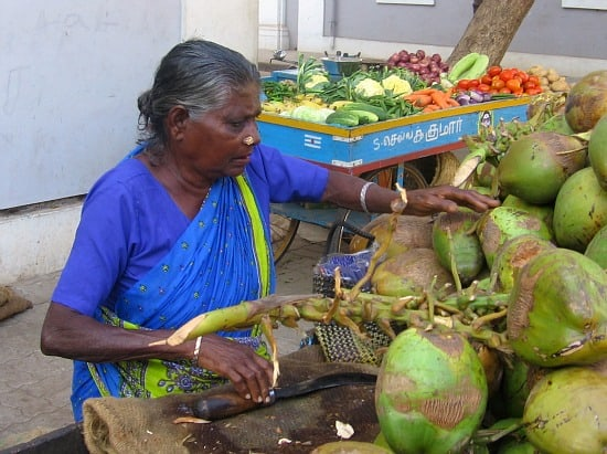 photograph of woman coconut seller in Pondicherry, India