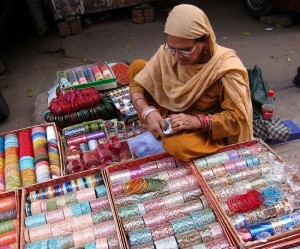 Bangle seller, Hauz Khas market, Delh 2010
