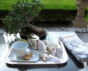 Tea tray at the Taj Palace Hotel, Delhi, India