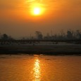 Photograph of sunrise on the Ganga or Ganges River in India