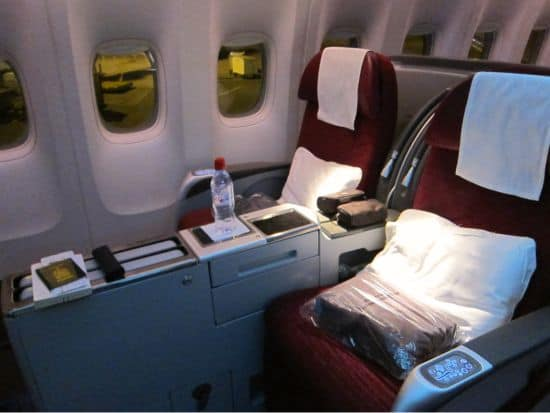 Photograph of business class seat on Qatar Airways flight to India