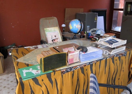 Photograph of desk of Fateh Singh Rathore, Tiger Watch Office at Ranthambhore National Park and tiger reserve, Rajasthan, India