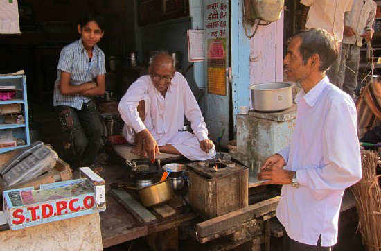 Photograpg of old city market tea shop in Sawai Madhopur near Ranthambhore tiger reserve, Rajasthan India