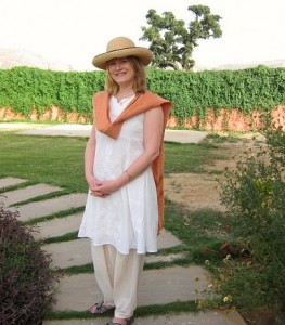 Mariellen Ward in Tilley Endurables hat at The Farm Villa, Ranthambhore, Rajasthan, India