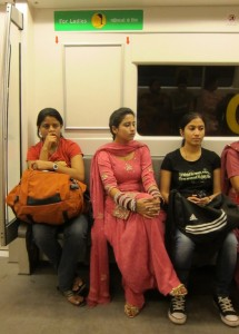 Photograph of women in the ladies car on the Delhi metro