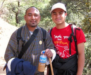 Photograph of my guides David and Kanchzen on climb to Taktshang Monastery, Paro, Bhutan