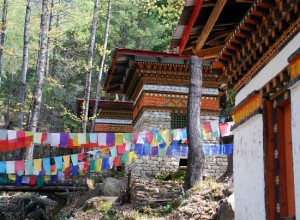 Photograph of chortens on the climb to Taktshang Monastery, Paro, Bhutan