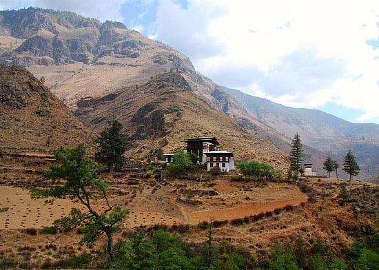 Photograph of countryside between Paro and Thimpu in Bhutan
