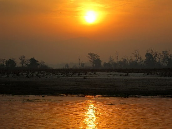 Photograph of sunrise on the Ganga River, Rishidwar