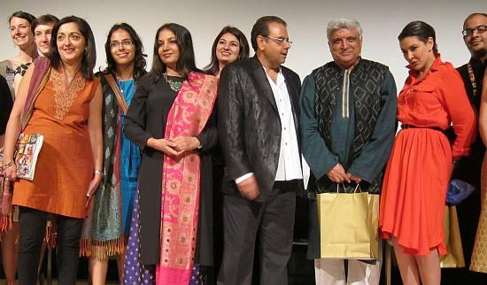 Photograph of Shabana Azmi, Javed Akhtar, Ajay Virmani and Lisa Ray at Royal Ontario Museum IIFA event
