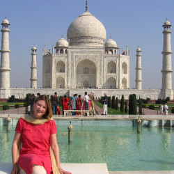 Photograph of Mariellen Ward at the Taj Mahal, India 2006