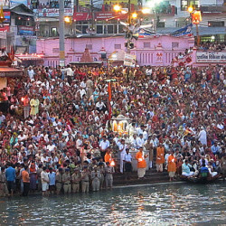 Photograph of the evening aarti in Haridwar, India during Kumbh Mela 2011