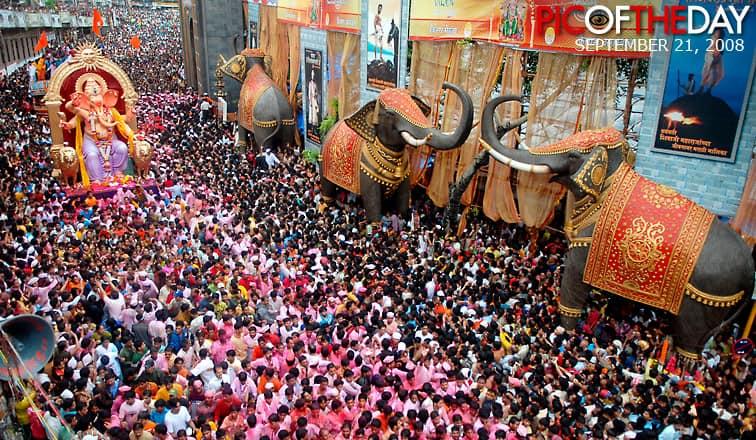 Photograph of Ganesh Chaturthi in Mumbai, India from TheFirstPost.co.uk