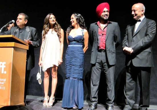 Photograph of Breakaway premier at TIFF with Ajay Virmani, Noureen DeWulf, Sakina Jaffrey, Gurpreet Guggi Singh and Anupam Kher