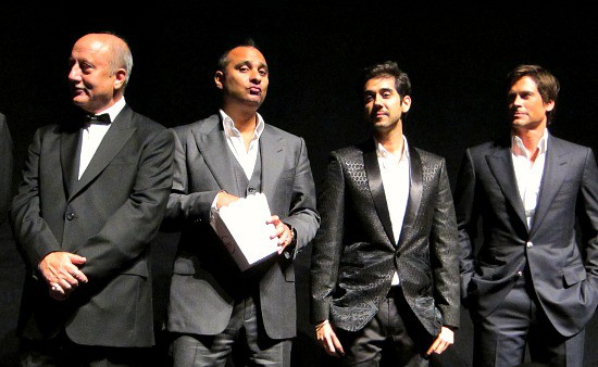 Photograph of Breakaway premier at TIFF with Akshay Kumar, Rob Lowe, and Russell Peters