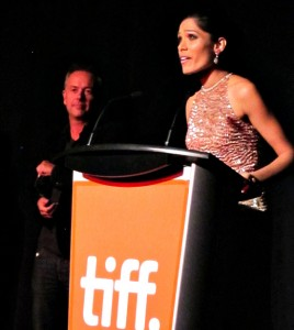 Photograoh of director Michael Winterbottom and Freida Pinto at Trishna premiere, TIFF 2011
