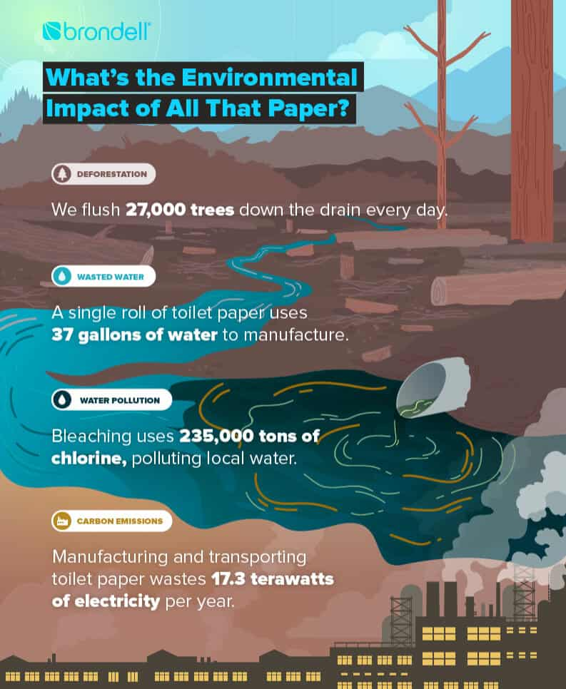 infographic showing environmental impact of toilet paper