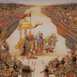 Scene from the Mahabharat: Krishna and Arjun at the battle of Kurukshetra