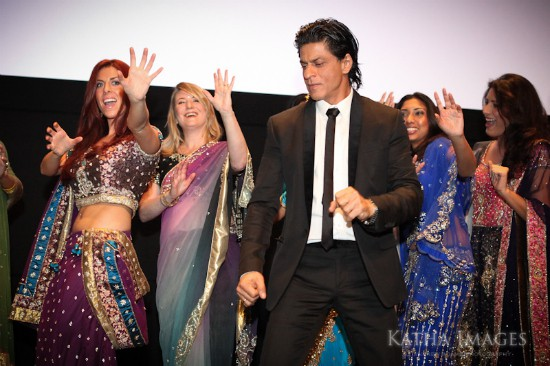 Shahrukh Khan and me dancing on stage at RaOne premiere in Toronto. Photo by Andrew Adams of Katha Images.