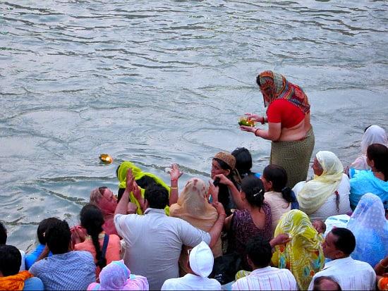 Aarti on the Ganga in Haridwar, India during Kumbh Mela, 2010