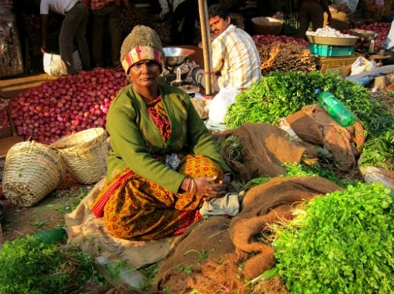 GREEN: A vegetable seller at the market in Bangalore