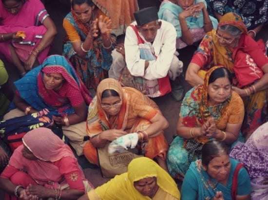 Women in saris at the Kumbh Mela 2010, Haridwar, India